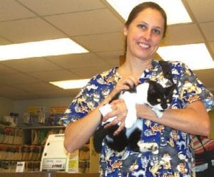 Jennifer King, a licensed veterinary technician at the Swartz Creek Veterinary Hospital in Swartz Creek, holds a fourmonth old kitten that is available for adoption.