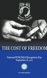 This is the poster from the 2011 POW/MIA Recognition Day.