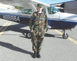 Brian Nance, 18, a Civil Air Patrol cadet with the Major Bruce Cook Memorial Squadron based in Mundy Township participated in Youth Aviation Day at Bishop Airport.