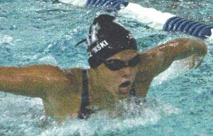 Emily Stemczynski competes in the butterfly for the Carman-Ainsworth/Flushing varsity girls swim and dive team.