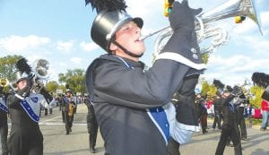 What's a parade without a full-fledged marching band? The Carman- Ainsworth Marching Band led the homecoming parade.