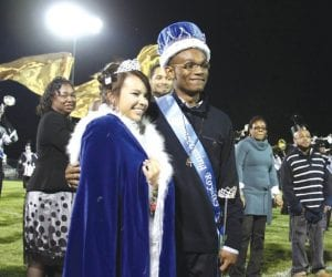 SCHOOL ROYALTY — Brittany Aragon and Clementia Hall were crowned Homecoming Queen and King during half-time ceremonies at the game Friday night. For more from Homecoming see page 15.