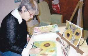 Peggy Mattson of Swartz Creek busy at work painting.