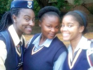 Rani Richardson (right) in her school uniform with Pretoria high school classmates (l to r) Galaletsang Florence Sethusa and Tlamelo Sekao.
