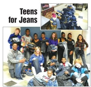 Students in Sandra Worthing's advisory class at Carman-Ainsworth Middle School collected 219 pairs of donated jeans in only nine days for a community service project sponsored by Aeropostale stores. The jeans will be dropped off at the store to be given to area homeless teens. Several students in Worthing's advisory class got involved by making posters to promote the event. Student council took charge of decorating and distributing donation boxes and promoting the event through bulletin boards.