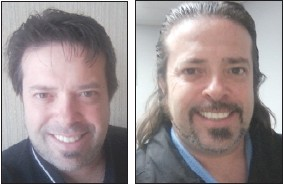 John Scott, assistant vice president of information technology for Security Credit Union, before and after cutting his hair for Locks of Love.