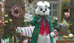 HOP ON BY — The Easter Bunny arrived at center court at Genesee Valley Center mall last weekend and will remain in residence to visit with children and pose for photos through March 30.