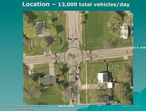 This aerial view shows a diagram for building a roundabout at the intersection of Court Street and Dye Road.