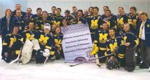 The U-M Flint hockey team posed after its semifinals win in Missouri last week.