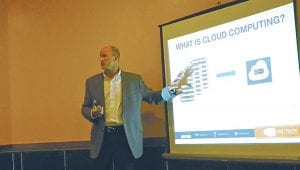 Mike Klein, CO-CEO of Online Technologies, 5225 Exchange Dr., the guest speaker last week at the West Flint Business Association monthly meeting, talked about Cloud Computing for Small Businesses and how hosting providers help businesses.