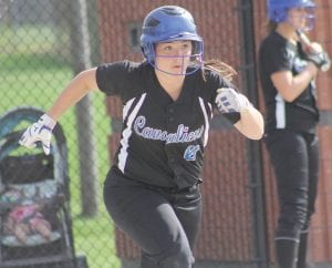 Meghan Borgerding heads for first base after a hit in a May 2 game.