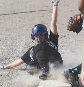 Meghan Borgerding slides into third base during a May 2 game.