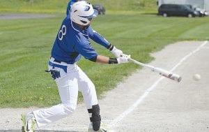Carman-Ainsworth's Vincent Lang (8) puts the bat to work against Flint Southwestern earlier this season.