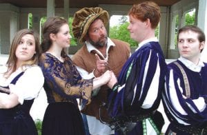 "From left, Ella Thorp, Caroline Collins, Brian Haggard, Philip Kautz and Benjamin Segal head a large and lively cast for ""Much Ado About Nothing."""