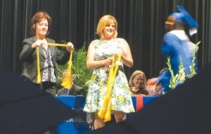 Forty-three students with grade point averages of 3.5 or higher were presented gold honor cords on stage.