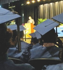 Graduates listen to final words of wisdom, encouragement and praise from CAHS principal Rory Mattar.