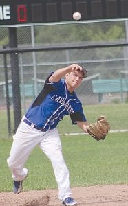 Carman-Ainsworth's Alex Thompson throws to first base at the district game at Flushing last Saturday.