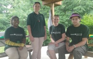 (From left to right)RayVonia Thomas, Karen Palmer, Danielle Potts and Kyne Anoje are working with For-mar this summer. Seasonal Naturalist Karen Palmer has been working with For-Mar for the past couple of years teaching kids about everything from bird calls to the importance of bees.