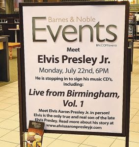 Barnes & Noble bookstore at Genesee Valley Center will be hosting an appearance by Elvis Presley Jr. on July 22.