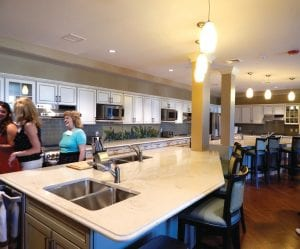 The main kitchen comprises four full-sized residential kitchens where guests can prepare their own meals and also have an assigned cupboard in an adjacent pantry for food storage. It also as an adjacent large casual dining area and a smaller private dining room that seats 10 and is intended to be used for birthdays and other small celebrations.