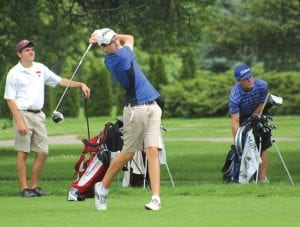 Ben Zyber, here teeing off in a July 8 tournament, has ruled the FJGA's top division the last three weeks.