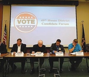 Candidates for state representative for the 49th district gathered Tuesday night to share their views during a public forum at the GISD Davis Education Center. Six Democrats, two Republicans and one Libertarian are running for the office.