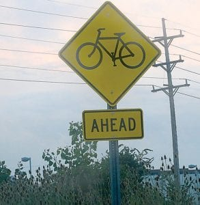 Some speeding motorists are ignoring clearly posted signs warning of a bicycle crossing on Dutcher Road.