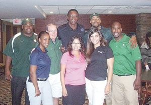 From left, former MSU All-Big 10 conference center, Jason Strayhorn, Detroit Pistons announcer, George Blaha, Michigan State national champion Greg Kelser, NBA veteran, Morris Peterson, and Michigan State Flintstone legend, Mateen Cleaves, pose with the Whaley Children's Center team at the 28th annual Whaley Golf Classic, Sept. 9, at Warwick Hills Golf & Country Club in Grand Blanc.