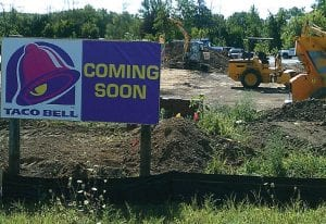 Work crews started moving dirt at the site on Miller Road, just east of Elms Road, about two weeks ago. Developers expect the eatery to open in November.