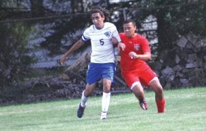 Anas Morsi, here battling for position in a game last year, had a big hand in one of the Cavs' goals Monday at Flushing.