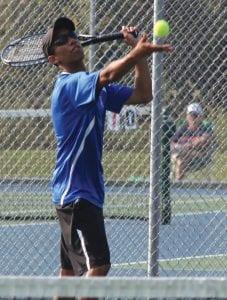 Carman-Ainsworth's Chris Crowder has a tough road ahead at No. 1 Singles in regional play today.
