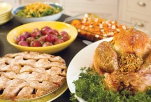 Thanksgiving meals can feature lighter fare to discourage guests from overindulging in unhealthy foods.