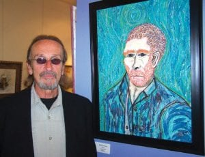 "Greg Maul, with his interpretation of Vincent Van Gogh's self portrait, titled ""My Hero Vinnie."" Maul's one-man exhibit opens Sunday at the Swartz Creek Area Art Guild Gallery."