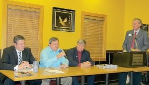 Candidates in the Nov. 5 election for 49th District State House of Representatives were guests at a political forum hosted by the West Flint Business Association. They are (left to right) Don Pfeiffer, Republican, Phil Phelps, Democrat, and Pat Clawson, Libertarian.