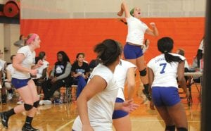 Carman-Ainsworth's Jessica Smith goes airborne for a solid kill attempt.