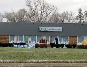 DXL big and tall men's store is now open on Miller Road across from Genesee Valley Center shopping mall.