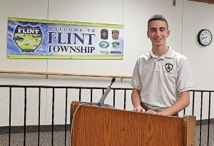 Michael Borka of Swartz Creek talks to the board about the Young Marines youth organization.