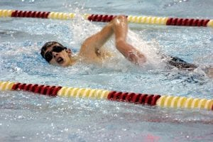 Carman-Ainsworth/Flushing's Tyler Pangerl works the lane during a freestyle event.