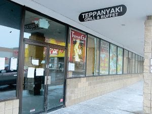 Several notices were posted on the closed doors of Teppanyaki Grill & Buffet by groups that regularly met there, to direct members to an alternate meeting place.