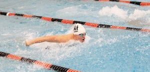 Carman-Ainsworth's Zak Wilkins uses his wingspan to ease through the butterfly race.