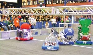 A look at some of the action at the recent FIRST Robotics competition where CAHS Team 314 ranked second in overall competition.