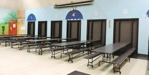 Dye Elementary's new cafeteria tables were installed as scheduled during spring break.