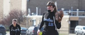 Carman-Ainsworth pitcher Jessica McClung looks in for the sign during an April 16 doubleheader against Bendle.
