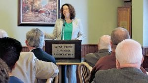Jennifer Acree of the Mott Foundation speaks to the West Flint Business Association about the grant-making process.