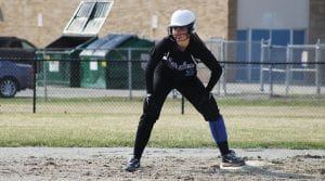Brianna Haskins stands on base for Carman- Ainsworth.