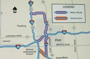 This MDOT map shows the portion of the freeway to be closed in orange and detour routes in purple.