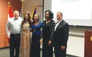 From left, Doug Stoddard, Club President; Whitney Berry. E.A. Johnson Memorial High School in Mt. Morris: Kaylee Green, Bentley High School; Eriatta Bates, Mott Middle College; and our esteemed Jack Stock, Chair, Scholarships Committee.