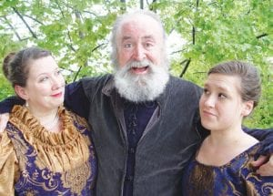 Shelli McCormick, (left) Michael Kelly and Ella J. Thorp: The Merry Wives of Windsor play tricks on Sir John Falstaff.