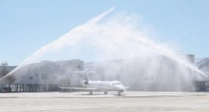 A water cannon salute last week sent off United's first nonstop flight from Bishop Airport bound for Chicago O'Hare.