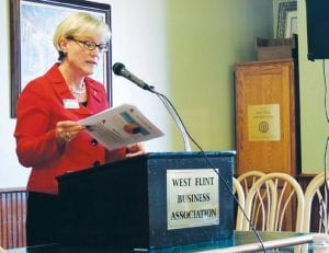 Kay Schwartz, director of the Flint Public Library, spoke to the West Flint Business Association about developments and resources at the library.